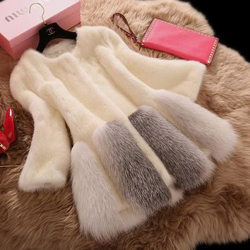 2017 O-neck Fur Coat Fur Vest Mink Time-limited Coat Winter New Fashion Imitation The Whole Female Haining Stitching In Section
