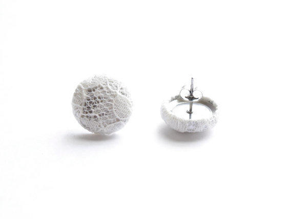 White Lace Fabric Covered Button Earrings NICKEL FREE