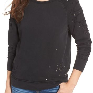 True Religion Brand Jeans Distressed Boyfriend Sweatshirt | Nordstrom