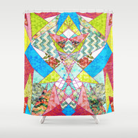 Geometric Quilt Shower Curtain by Sandra Arduini