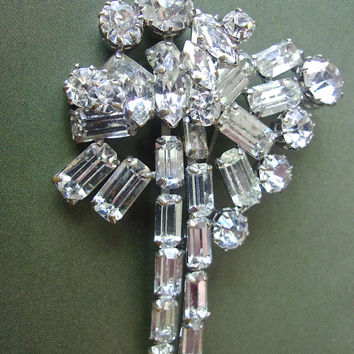 Art Deco Clear Rhinestone Brooch, Baguettes Round Marquis Cuts, Vintage