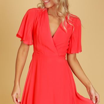 Ruffled Sleeve Wrap Dress Tomato Red