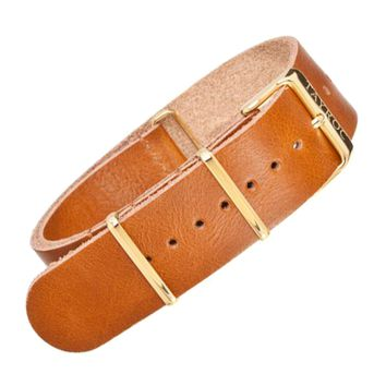 22mm Tan Leather NATO - Gold Buckle