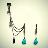 ear cuff with turquoise drop and feather earrings