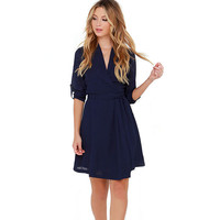 Navy V-Neck Sleeve A-Line Dress