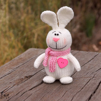Easter bunny, white bunny, knitted rabbit, Easter gift, heart, hand knit toy - Philip the Rabbit