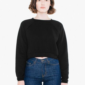 Flex Fleece Raglan Cropped Sweatshirt | American Apparel