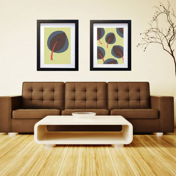 Modern Sea Grape Leaf - Beach Art - Modern Beach Art - Mid-Cenury Colors - Beach Illustration - Brown Blue Conch on Green