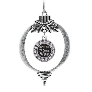 World's Best 7th Grade Teacher Circle Charm Holiday Ornament