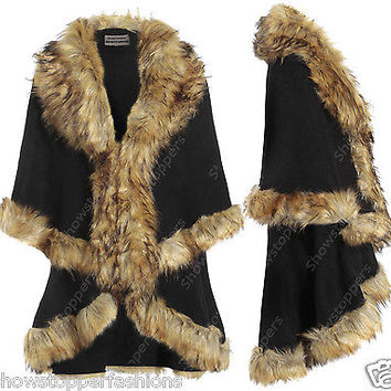 NEW Ladies BLACK DOUBLE LAYER FAUX FUR CAPES WARM PONCHO CAPE Jacket All Sizes