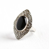 Vintage Marcasite Ring - Art Deco Sterling Silver Onyx Marcasite Ring - Size 6 1/4 1930 Motif Oval Navette Shield Cocktail Ring Jewelry
