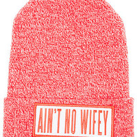 The Ain't No Wifey Beanie In Heather Red