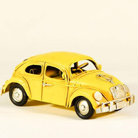 Yellow VW bug car miniature, collectible Beetle car miniature, shabby, retro buggy car in striking yellow, VW bug replica, mid nineties