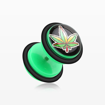 A Pair of Fresh Pot Leaf Acrylic Fake Plug with O-Rings