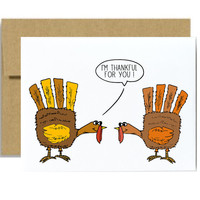 Thanksgiving card - Funny nice I am thankful for you turkey hands november fall thanksgiving kraft brown orange greeting card im thankful
