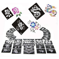 60pcs mixed 66styles Glitter Tattoo stencil Body Painting design airbrush Temporary Tatoo Kit template supplies Free shipping