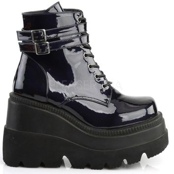 Black Holographic Stacked Wedge Platform Ankle Boots
