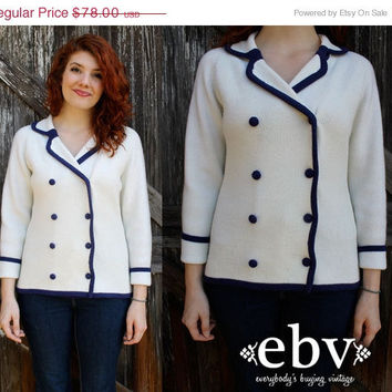ON SALE Vintage 60's Navy & White Sailor Mod Cardigan Sweater Jumper S M