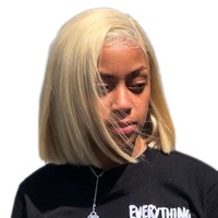 Short Bob Lace Front Human Hair Wig For Black Women 613 Blonde 13x4 150% Density Remy Hair Wig 8 10 12 14 inch