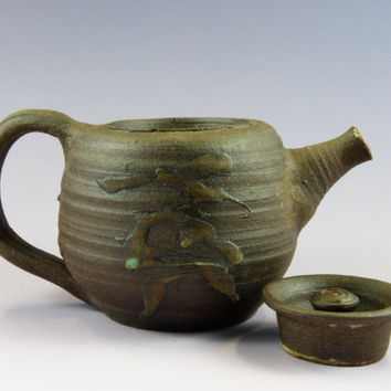 Handmade teapot, wheel thrown teapot, dark clay tea pot , soda fired teapot 22oz