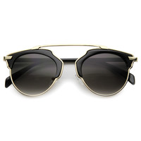 Trendy High Fashion Metal Trim Horned Rim Sunglasses 9859