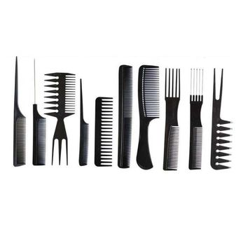 Best Deal New Good Quality 10Pcs Hair Combs Black Pro Salon Hair Styling Hairdressing Plastic Barbers Combs Set dropshipping