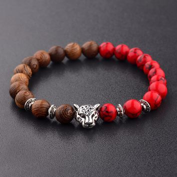 Amader Natural Wood Beads Bracelets Men Red Meditation Leopard Beads Bracelet Women Prayer Jewelry Yoga Dropshipping ABJ010