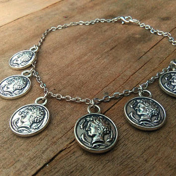 Coin Anklet, Silver Medals Ankle, Charm Ankle, Gypsy Disc Ankle Chain, Body Foot Jewelry, Ethnic Medals Ankle, Boho Chic Bracelet Anklet