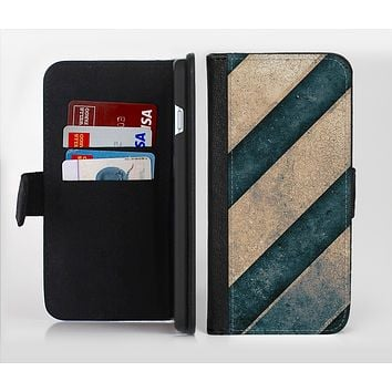 The Dark Blue & Highlighted Grunge Strips Ink-Fuzed Leather Folding Wallet Credit-Card Case for the Apple iPhone 6/6s, 6/6s Plus, 5/5s and 5c