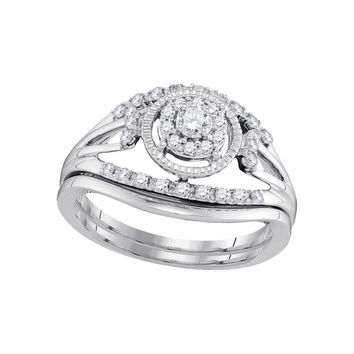 10kt White Gold Womens Round Diamond Openwork Antique-style Bridal Wedding Engagement Ring Band Set 1/3 Cttw 98335