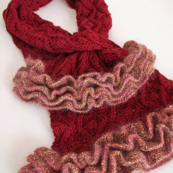Red Cowl Knit Scarf Ruffle Scarf Handmade Scarf OOAK Vintage Shabby Romantic Chic