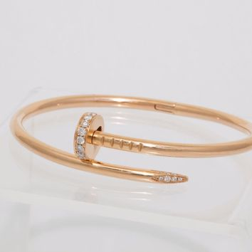 Cartier Juste un Clou Diamond Nail Bangle Bracelet in Rose Gold