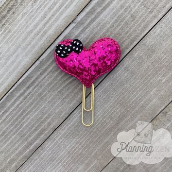 Hot Pink Heart Planner Clip Glitter Heart with Bow