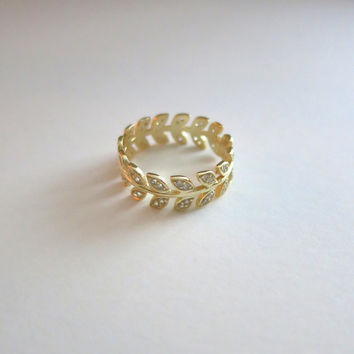 Love Fern Crystal Pave Ring (Small/Indie Brands)