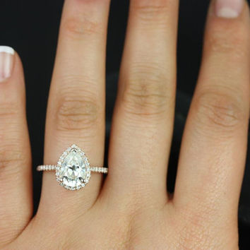 Tabitha 10x7mm 14kt Rose Gold Pear FB Moissanite and Diamonds Halo Engagement Ring (Other metals and stone options available)