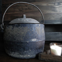Large Antique Cauldron With Lid
