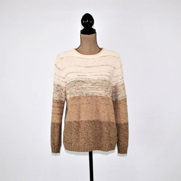 Womens Pullover Sweater Fall Sweater Medium Cream Tan Brown Cotton Blend Womens Sweaters Liz Claiborne Womens Clothing