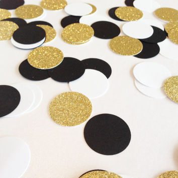 "150 Black / White / Gold Glitter Confetti - 1 Inch - 1"" - Confetti for weddings, birthdays, parties and more!"