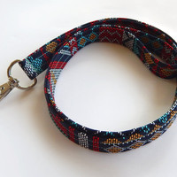 Tribal Lanyard / Indian Blanket Inspired / Boho Keychain / Bohemian / Turquoise / Key Lanyard / Loom Woven Style / ID Badge Holder