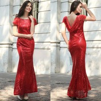 Red Plain Sequin Semicircular Dacron Bridesmaid Maxi Dress