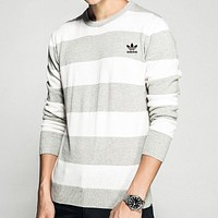 Adidas Autumn New Trending Men Women Casual Grey White Stripe Long Sleeve Round Collar Pure Cotton Sweater Top Sweatshirt