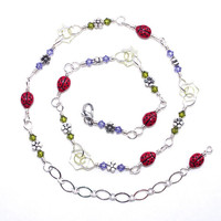 Ladybug Choker  -  Flower Crystal Sterling Silver Fill Short Necklace – Lady Bug Jewelry – Birthday Present for Her