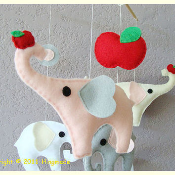 Hanging Nursery baby Mobile Little Elephant with by hingmade
