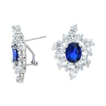 CZ by Kenneth Jay Lane Sapphire-Colored Cubic Zirconia Cluster Earrings