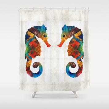 Colorful Seahorse Art by Sharon Cummings Shower Curtain by Sharon Cummings