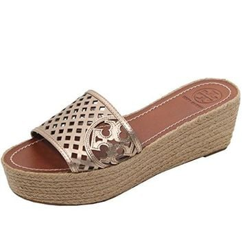 Tory Burch Thatched Wedge Perforated Flip Flop Sandal TB Logo Slide