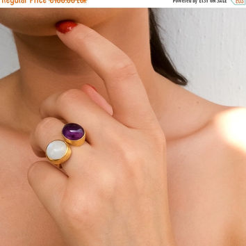 Fall Sales Dual Stone Statement Ring, Two Birthstone Ring, Amethyst Statement Ring, Rainbow Moonstone Ring, Gold Cocktail Ring, Purple Ring,