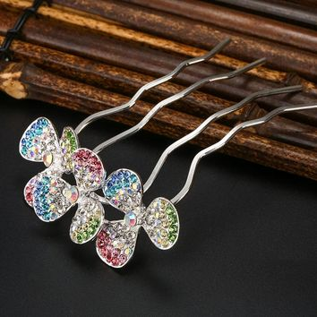 Hair Combs Jewelry For Women's Grips Four-tooth Hair Clip Crystal Headwear Fashion Colorful Bridal Accessories Hair Comb Hairpin
