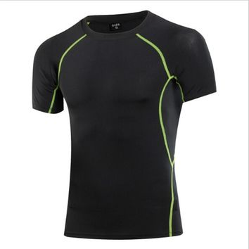 #1018 Men Compression Sports Gym Training Jogging Base Layers Under Tops Shirts Thermal Top Cool Skins Shirt Men Plus Size S-3XL