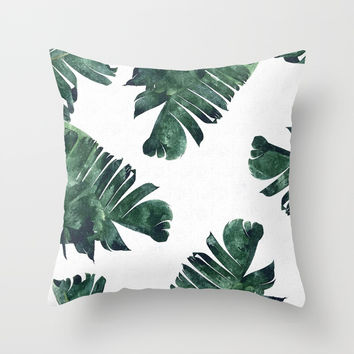 Banana Leaf Watercolor #society6 #buy #decor Throw Pillow by 83oranges
